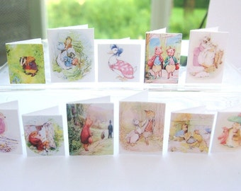miniature beatrix potter cards dollhouse 12th scale display x 12 set A  lakeland artist