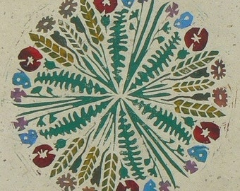 Mandala 3, poppies, corn and mice, linocut print