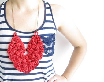 Nautical rope necklace Red rope necklace Rope knot necklace Knotted necklace Rope statement necklace