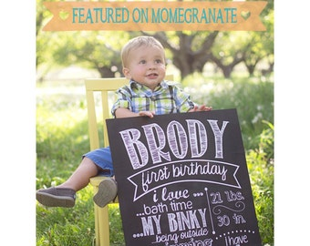 First Birthday Chalkboard Poster - Digital File - Personalized
