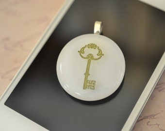 FUSED GLASS JEWELRY - White - Key - Pendant - Necklace - Victorian