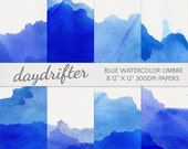 Blue Watercolor Ombre Dip Dye Paper - Digital Scrapbooking Background - Instant Download