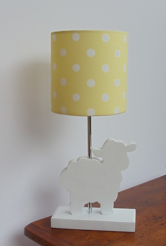 handmade small yellow with white polka dot drum lamp shade great for. Black Bedroom Furniture Sets. Home Design Ideas