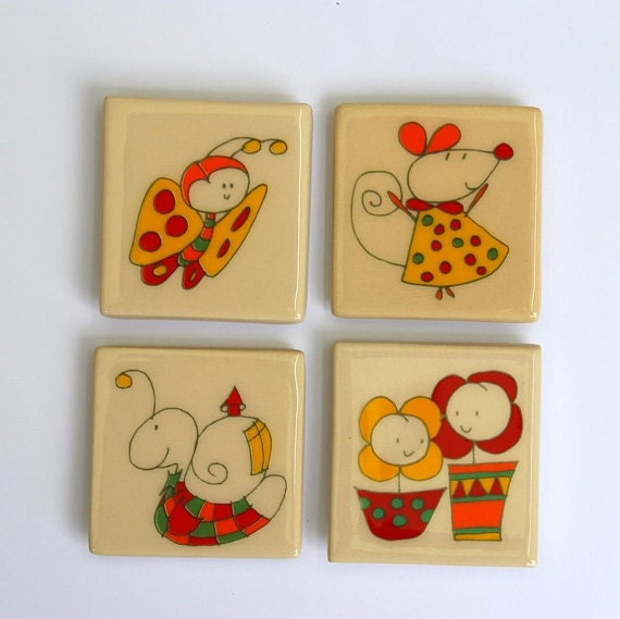 4 magnets: snail, butterfly, mouse flowers in love, original design