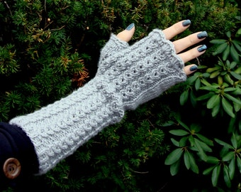 cashmere & extra fine merino wool fingerless gloves, piano mitts, arm warmers, extra long cuff, for women, made to order, choice of 5 colors