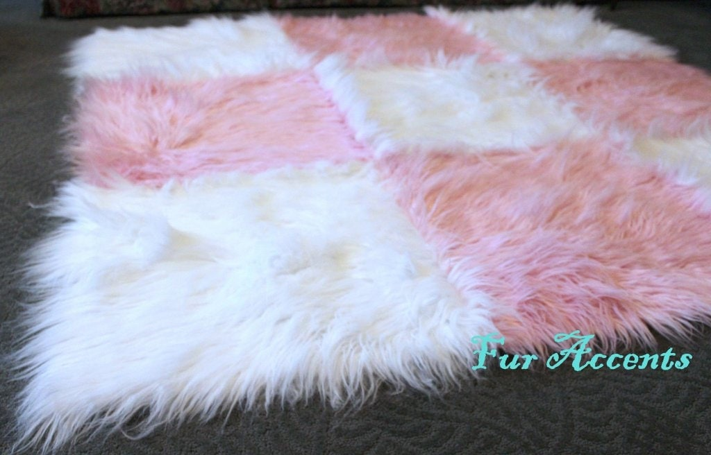 Fur Accents Faux Fur Rug Pink And White Rectangle By