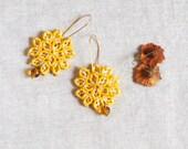 SALE Yellow Fiber Earrings / Flower Lace Design / Macramé Boho Chic Jewelry / Textile Lightweight Earrings