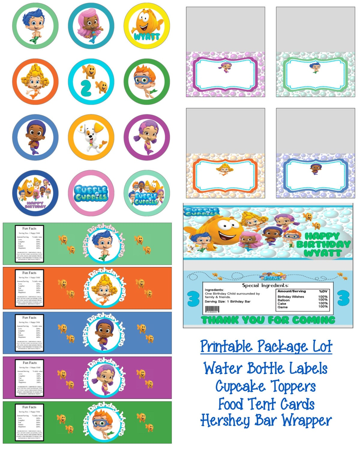 bubble guppies birthday party printable lot package favors and