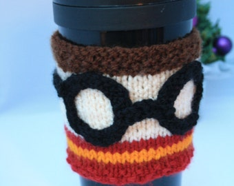 Hand Knitted Harry Potter Gryffindor House Reusable Cup Cuff // One Size // Harry Potter Gifts // Gryffindor Gifts // Stocking Stuffers