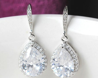 zirconia bridal earring , wedding earring , bridemaids earring , Classic Drop Earrings