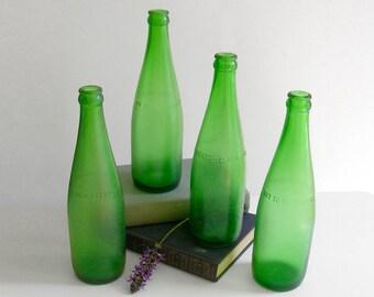 Set of 4 Vintage Green Soda Bottles