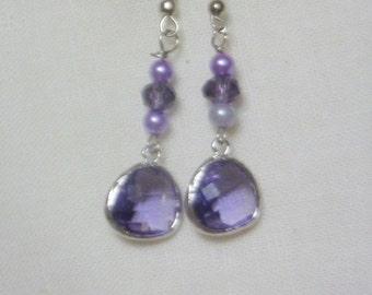 Amethyst dangle earrings - Wedding Earrings - Bridesmaid Earrings - Bridesmaid Gift - wedding jewelry - Ladies earrings