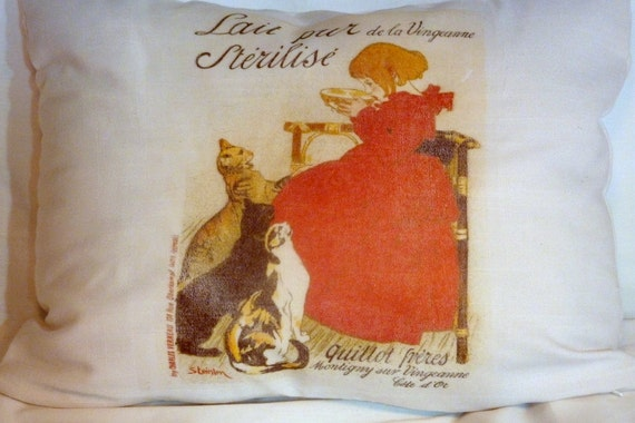 white linen pillow vintage french ad decorative pillow