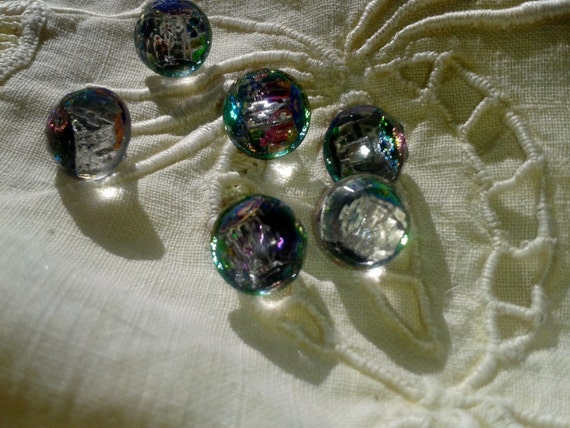 6 Art Deco Crystal French Buttons -1930's - Aurora Borealis Crystal Faceted Buttons - Clear Couture Buttons - Jewelry Assemblage