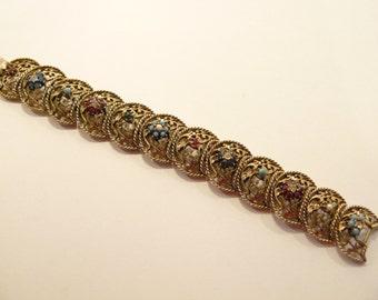 Vintage Ornate Rhinestone & Faux Turquoise Crescent Link Bracelet