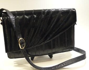 Beautiful Vintage 1980's Black Eel Skin Shoulder Bag