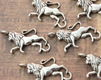 10 Lion Charms Lion Pendants Antiqued Silver Tone 12 x 22mm