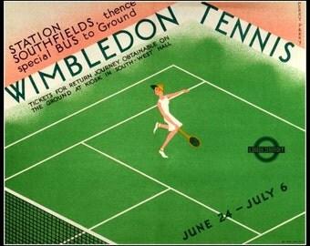 Art Print Wimbledon Tennis 1932,  London Underground Railway Poster Print 8 x 10