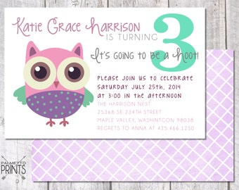 Its Going to Be a Hoot! Owl Birthday - 8.5x 5.5 Printable Invitation