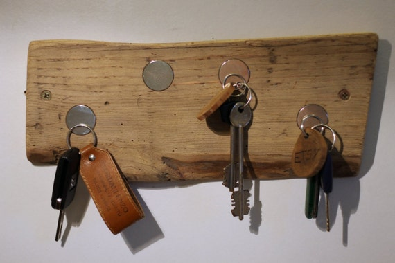 Rustic Wooden Magnetic Ring Key Holder Natural Wood Home Decor