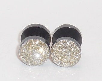 FREE SHIP till Vday Simply Silver Glitter Fake Plugs