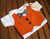 Orange Pinstripe Halloween Onesie, Vest Onesie, Bow Tie Onesie, Baby Bowtie, Baby Boy Halloween Outfit, Baby Vest, Boy Fall Onesie, Boy Fall