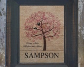 CHERRY BLOSSOM with love BIRDS Personalized Burlap Family Name Birds on the Tree Wall Art