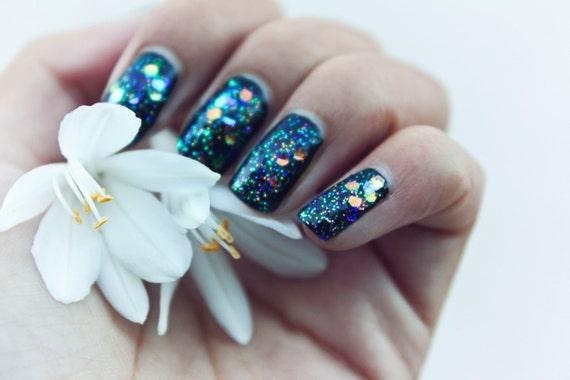 galaxy nail polish, Handmade nail polish, nail lacquer, gliter nail polish, custom nail polish 15ml