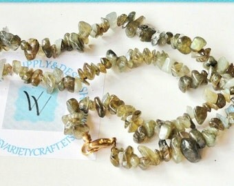 Vintage Lambordite Green Shell Chip Bead Strand Necklace, Jewelry Bead Craft Destash Lot