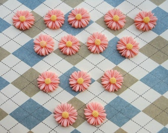 50pc pink color resin Sunflower charms Flower Cabochons Resin Flowers 14mm