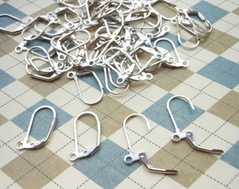 50 Pcs (25 Pairs) - Silver Plated Lever Back Ear Hooks, Leverback Ear Wires, Earwires Findings (20x11MM)