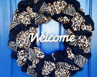 Leopard and Zebra Print Burlap Wreath with Welcome sign