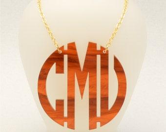 Extra Large 2 Inch Custom Tortoise Shell Geometric Monogram Acrylic Necklace, Personalized Jewelry