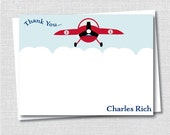 Vintage Airplane Custom Notecard - Vintage Airplane Party Thank You - Digital Design or Printed Notecards - FREE SHIPPING