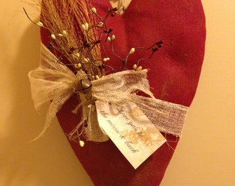 "Handmade Primitive Heart Wall or Door Hanger with Florals and tag ""Love You to the Moon and Back"""
