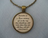 Start Children Off On The Way They Should Go Scripture Necklace Bible Verse Proverbs 22:6
