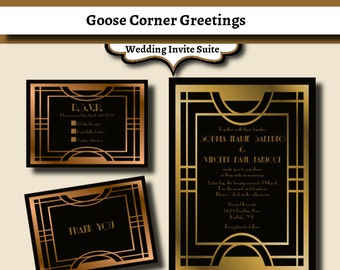 Great Gatsby Wedding Invitation Suite-Art Deco- Printable-Elegant-Formal- Wedding invitations-Gold and Black