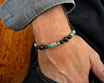 Black Onyx, African Turquoise, Silver Accents Men's Bracelet, Men's Jewelry