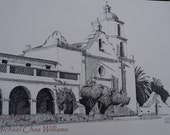 Architecture- Mission San Luis Rey, Oceanside , California- Pen and Ink Fine Art Print