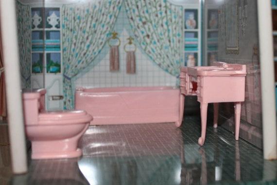Plastic Dollhouse Furniture Bathroom Marx French Provencal