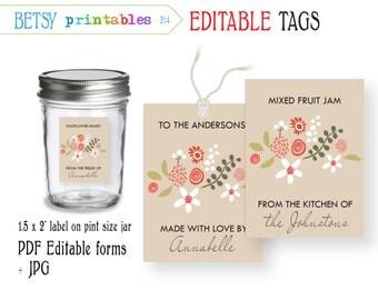 Editable tags - digital labels - floral canning labels - PDF editable & JPG -  Instant Download 214