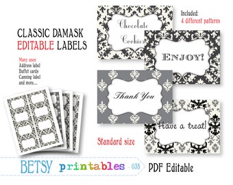 Editable labels, digital labels, damask labels, printable labels or tags - INSTANT DOWNLOAD  035