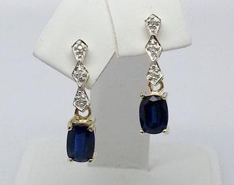 2.60ctw Tibetan Kyanite & Zircon Solid Yellow Gold Earrings