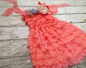 Lace dress in coral with flowers and rhinestones for baby girls 18-36 months. FREE coordinating HEADBAND
