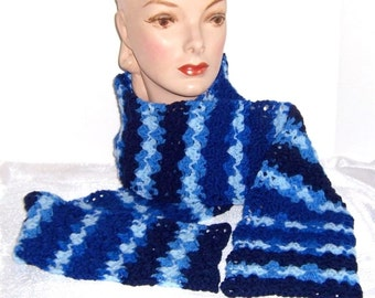 Five Shades of Blue: Hand Crocheted Striped Scarf - M0083