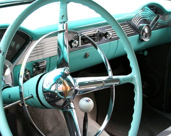 5 x 7 print, classic car steering wheel, photo with 8 x 10 mat, aqua blue, mechanic, retro
