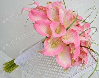 Wedding Bouquet Artificial Bouquet Wedding Flowers Real Touch Flowers pink calla