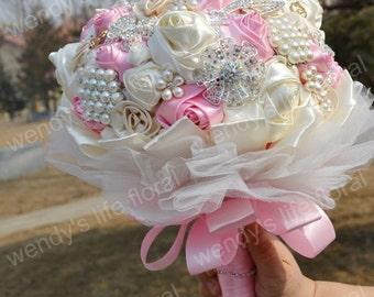 Wedding Bouquet brooch Bouquet Wedding pink white