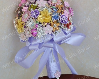 wedding brooch bouquet vintage purple