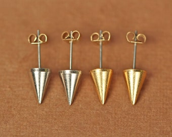 Gold spike earrings - spike studs - silver spike earrings - spike studs - punk rock - gold spikes
